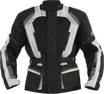 RST Tundra Vented 3/4 Waterproof Jacket Black Silver Touring Motorcycles RRP$349