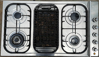 ILVE 4 burner gas cooktop + electric BBQ grill stainless steel 860mm