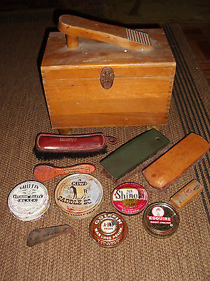 Shoe Shine Wood Box Kit w/ some Vintage Polishes & Brushes All Used Condition