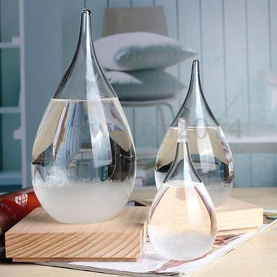 Weather Forecast Crystal Drop Water Shape Storm Glass Christmas Gift + Wood Base