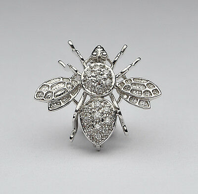 14K White Gold Diamond Bumble Bee Brooch