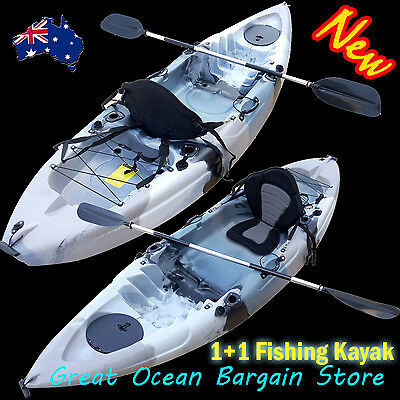 2.8M Fishing Kayak Boat For 1 Adult +1 Child Sit-on 5 Rod Holders 1 Seat+paddle