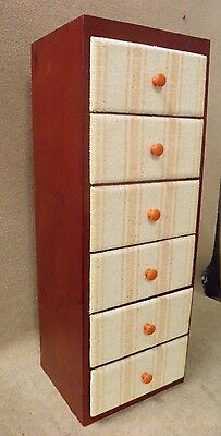 Vintage Decorative 6 Drawer Tall Narrow Chest