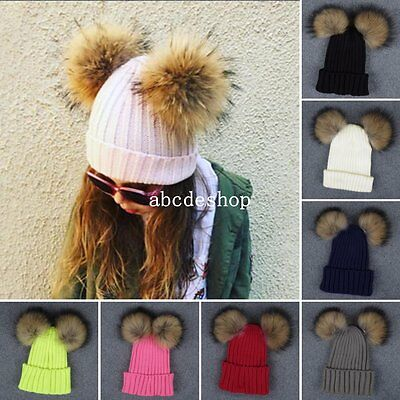 Toddler Kids Girl Boy Large Raccoon Fur Hat Double Pom Winter Knitted Beanie Cap