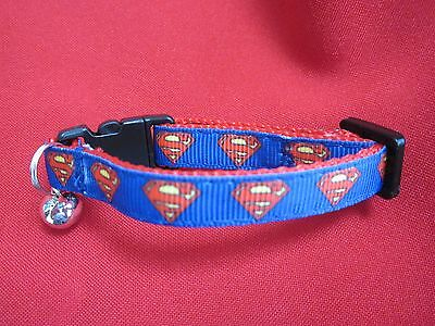 Cat Kitten Collar Superman Curved Safety Bukle Webbing Bell Chrome Red Ribbon