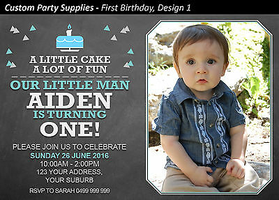 Boys 1st First Birthday Party Invites Invitations Personalised AUST one boy
