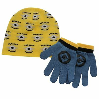 Childrens ~ Despicable Me ~ Minions ~ Beanie Hat/Cap and Glove Set ~ RRP £18