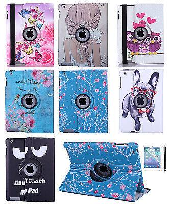 For Apple iPad 2 3 4 Mini Air 360 Rotating Case Leather Stand Smart Cover