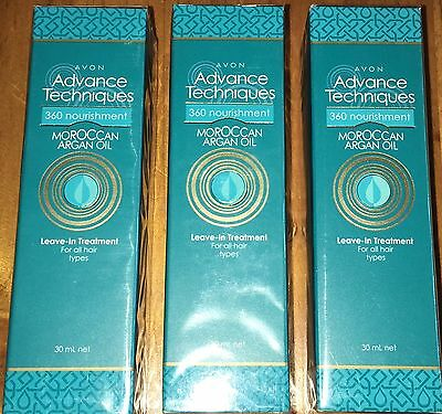 Avon 3 x Advance Techniques Moroccan Argan Oil Leave-In Hair Treatments 30ml