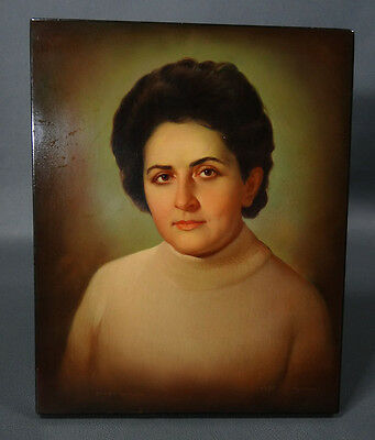 1974 Russian Fedoskino Lacquer Important Communist Woman Portrait Desk Painting