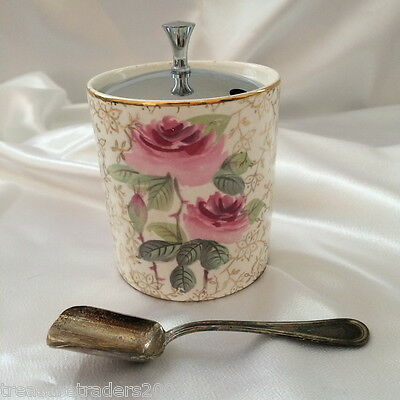 �� GOLD CHINZ 1950s SUGAR OR JAM POT WITH LID & SPOON MIDWINTER ENGLAND