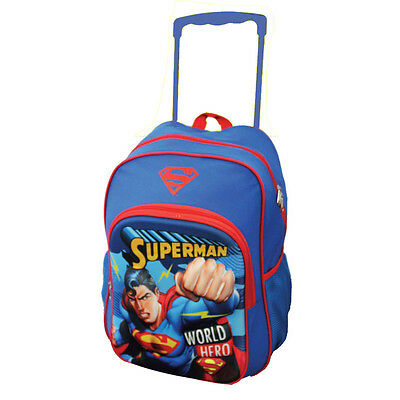 Superman Trolley Wheelie Suitcase Luggage Travel School Bag for Kids Super Man