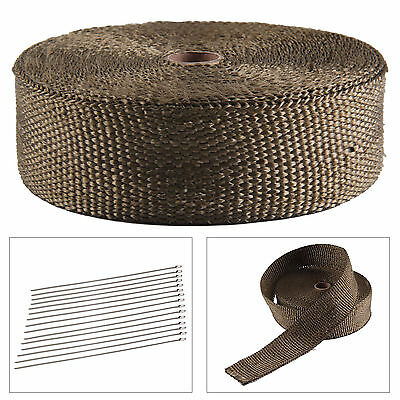 15M Titanium Heat Wrap Exhaust Manifold Brown Insulating Tape+10 Cable Ties 30Cm