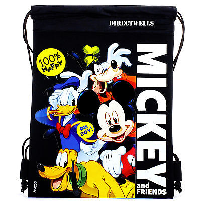 Disney Mickey Mouse and Friends Black Drawstring Bag School Backpack