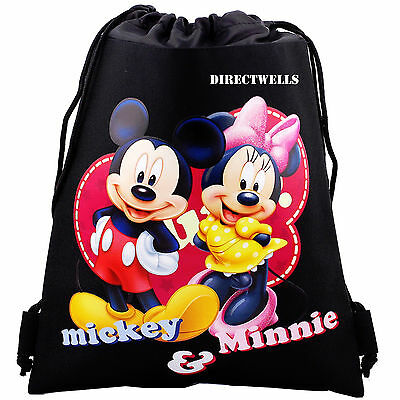 Disney Mickey and Minnie Mouse Black Drawstring Bag School Backpack