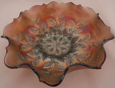 Fenton Amethyst 'Holly' Carnival Glass Bowl - Ruffled Edge