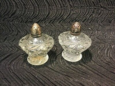 Antique Pressed Glass Salt & Pepper Shakers With Sterling Caps