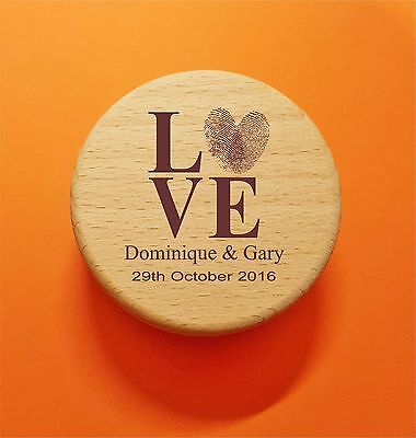 Personalised Burlap Hessian Wedding Ring bearer wooden round Rustic box custom