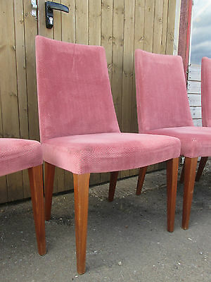 Set of 4 Vintage High Back Pink Velour Teak Dining Kitchen Chairs G Plan