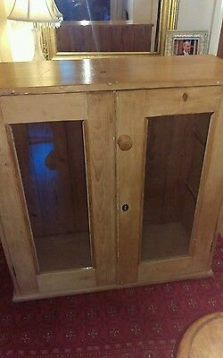 beautiful rustic untouched antique pine glazed cupboard