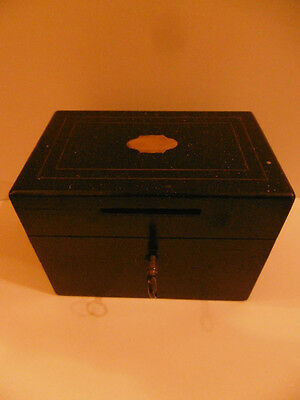 MONEYBOX PERIOD NAPOLEON III (19th) - WOOD & BRASS - WITH KEY - FRENCH ANTIQUE