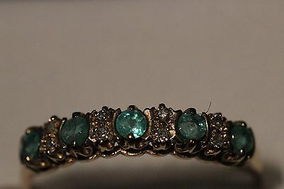 9ct yellow gold 5 emerald & 8 diamond ring  Size approx O Very good condition