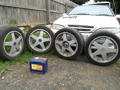 Multifit 17 inch alloy wheels with nuts & lock nuts Holden vectra 2 new tyres