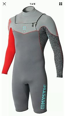 Mystic Nick Davies 2/2mm GBS Long Arm Shorty Wetsuit red grey WETSUIT Large