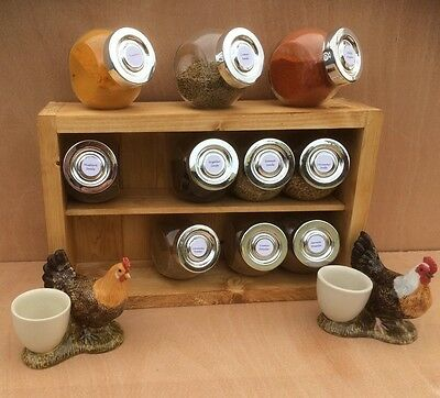 Wooden Spice Rack with Glass Jars & Gift box 6,10,12.15.20