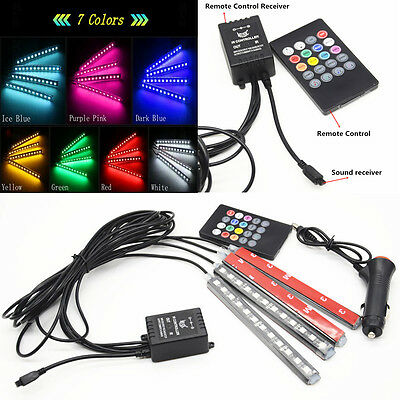 Car Interior Parking 12LED 7 Colorful Remote Control Ambient Foot well Lighting