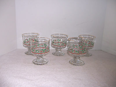 5 Arby's 1985 Christmas Collection Glass Sherbest