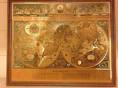 Gold Foil Framed Bleau Wall Map