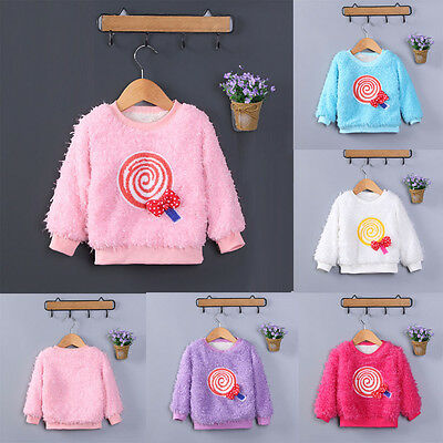 Child Kids Baby Girls Long Sleeve Warm Thick Fur Tops Pullover Blouse Sweater UK