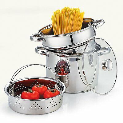 Stainless Steel 4-Piece Pasta Cooker Steamer Multipots, Encapsulated Bottom