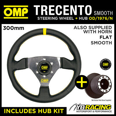 NISSAN MICRA NO A-BAG 96-03 OMP SMOOTH LEATHER 300mm TRECENTO STEERING WHEEL KIT