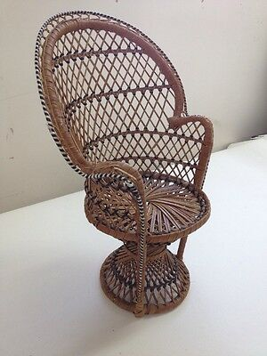 Vintage Minature Wood and Wicker Dolls/Teddy Bear Chair Peacock Rattan Style