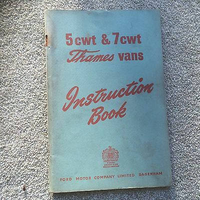 1959 5cwt & 7Cwt THAMES vans instruction Book by Ford motor Company
