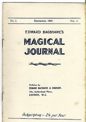 Edward Bagshawe's Magical Journal. December 1927. Magic Magazine.