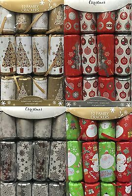 12 Pack Luxury Christmas Crackers Poppers Fam Xmas Party Cracker Presents Gifts