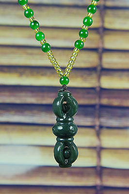 Natural Green Hand-carved Chinese Hetian Jade nephrite Pendant -Free Necklace%
