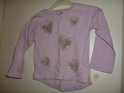 Next age 6 pink long-sleeve top with sequin hearts