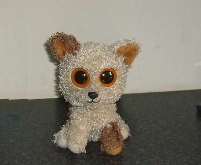 """Ty Beanie Boos Rootbeer brown patch curly haired dog terrier soft toy 6"""""""