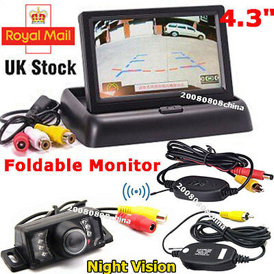 "Wireless IR Reversing Parking Camera+4.3"" Foldable LCD Monitor Car Rear View Kit"