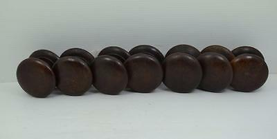 """7 antique Victorian turned hardwood drawer knobs 2.1/4"""" wide threaded fitting"""
