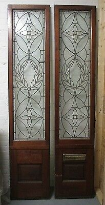 Monumental 9 Ft. Pair Beveled Antique Glass Door Side- Lites W/10 Jewels # 531