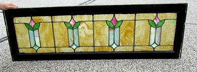 Very Nice Antique Arts & Crafts Tulips Stained Glass Window Ohio Estate   #230
