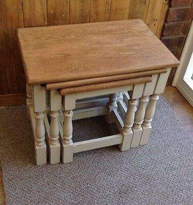 Shabby Chic Solid Oak Nest Of Three Tables. Delivery Available See Description.