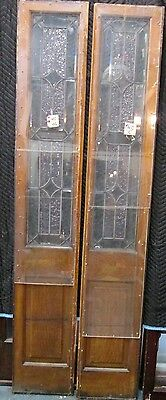 Pair Tall Beveled & Textured Stained Glass Antique Door Side- Lites Estate #145