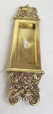 Fancy Antique Victorian Polished Brass/bronze French Pocket Door Plate # 22