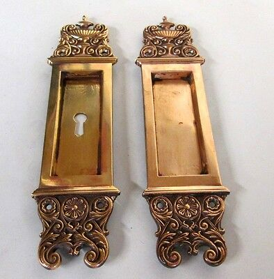 Fancy Set Antique Victorian Polished Brass/bronze French Pocket Door Plates # 11
